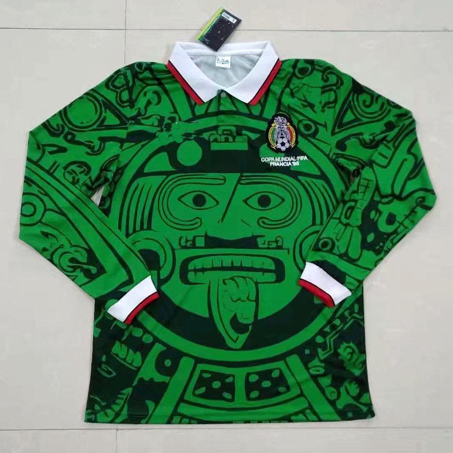 1995 1998 Retro Edition Mexico Soccer Jersey طويلة الأكمام قصيرة 1994 لويس غارسيا كأس العالم 2006 راميريز قميص بلانكو هيرنانديز كرة القدم