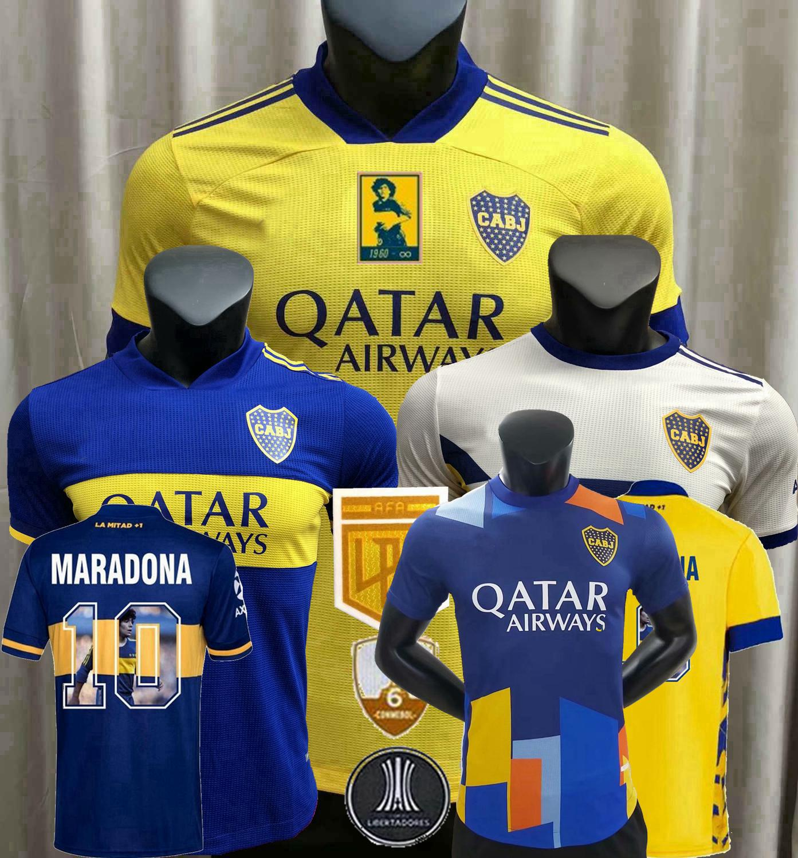 2021 Boca Juniors Player Version Soccer Jerseys Maradona Carlitos de Rossi Tevez Salvio Home Away 3rd 20 21 22 كرة القدم قميص ضيق