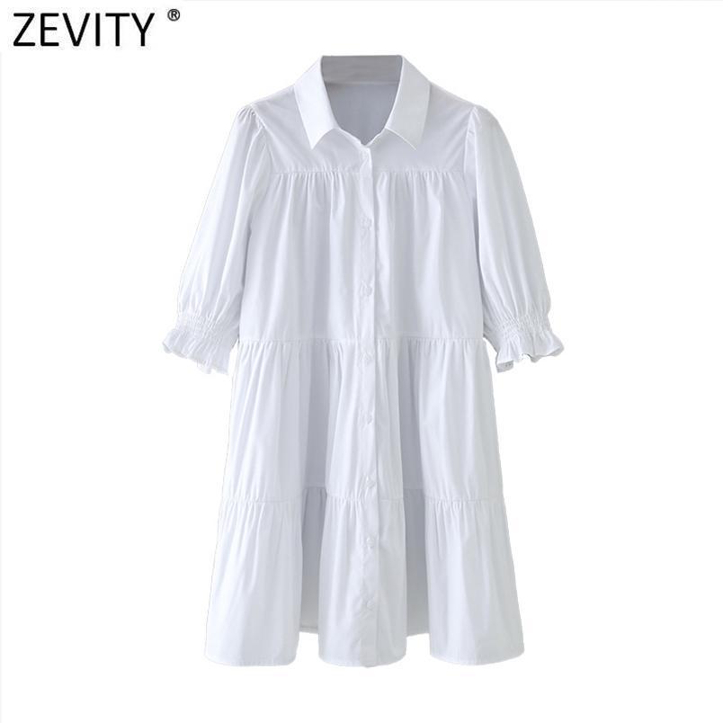 Donne abbassando il colletto Pleas Pleas Bianco Camicia Abito Chic Chic Bold Sleeve Office Lady Vestido Business Mini DS4981 210420