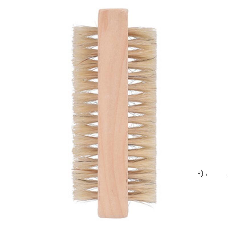 Деревянные щетки для ногтей Двухсторонний натуральный кабан щетины деревянные маникюр двойной поверхности рука очищающая щетка OWB6281