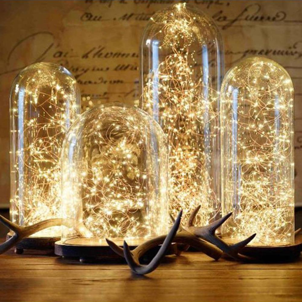 2 5M Led Copper Wire String Lights Romantic Wedding Fairy Light Decoration AA Battery Operated New Year Christmas Decor