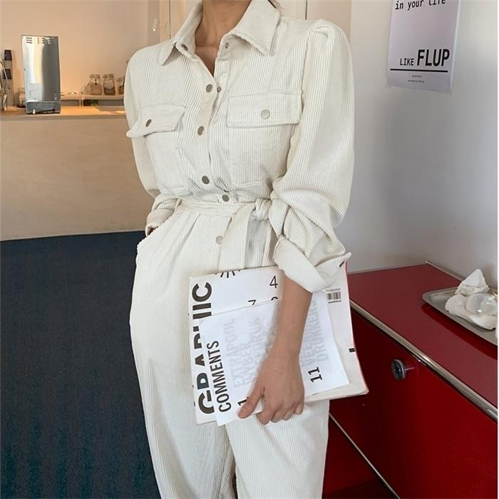 Alien Kitty L2021 Herbst Langarm Revers Frauen Casual Jumpsuits Hohe Taille Cordouroy Strampler Overalls Solid Office Dame