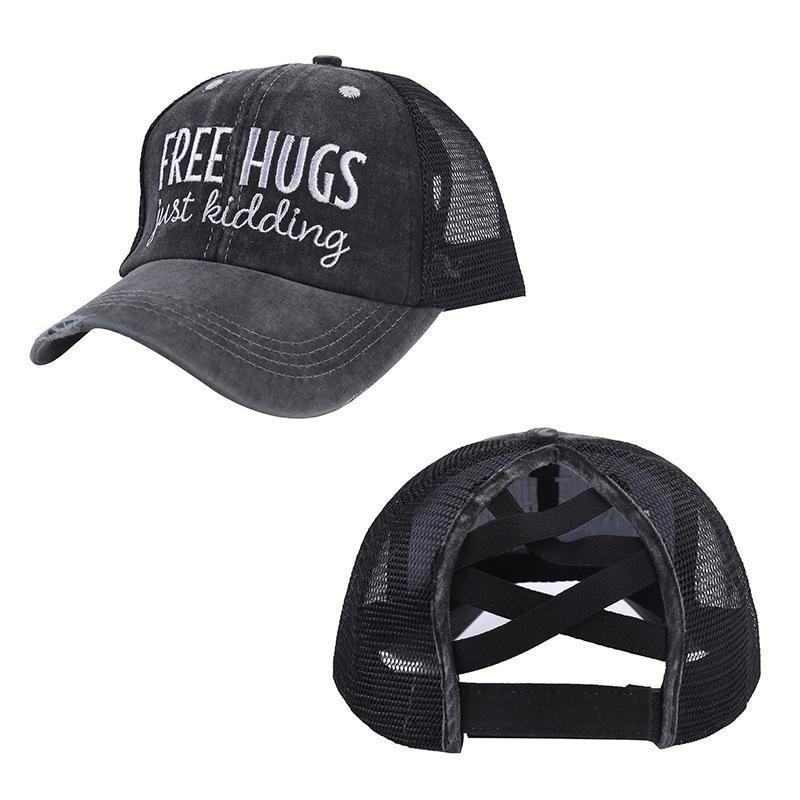 MS Product Horsetail Вышивка бейсболка запрещена BASK в бейсбольной кепке сетки сетки открытый мода Sun Hat детей