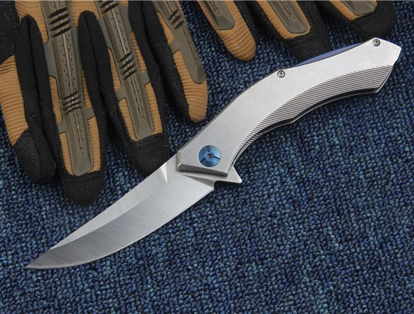 High Quality Flipper folding knife D2 Satin Drop Point Blade CNC Stainless Steel Handle Ball Bearing Folder Knives EDC Tools