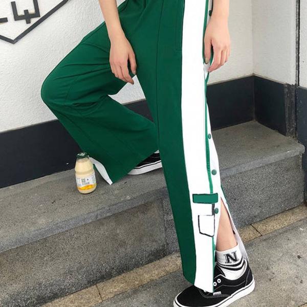 여성 바지 스플릿 스트레이트 다리 캐주얼 편지 스트라이프 와이드 레그 바지 스포츠 편안한 버튼 바지 4 색 S-2XL 패션 2021