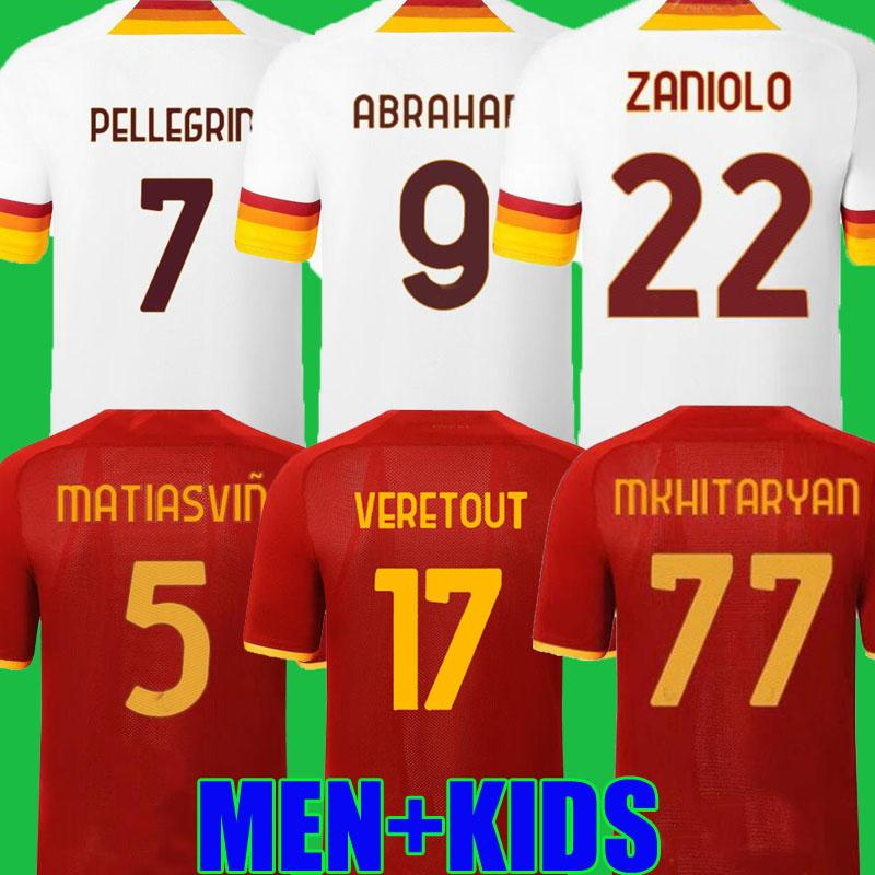 Top Abraham Soccer Jersey Zaniolo Roma VereTout روما Pellegrini Kumbulla Totti El Shomurodov 21 22 قميص كرة القدم 2021 2022 الرجال + Kids Kit Oryms Mailleot