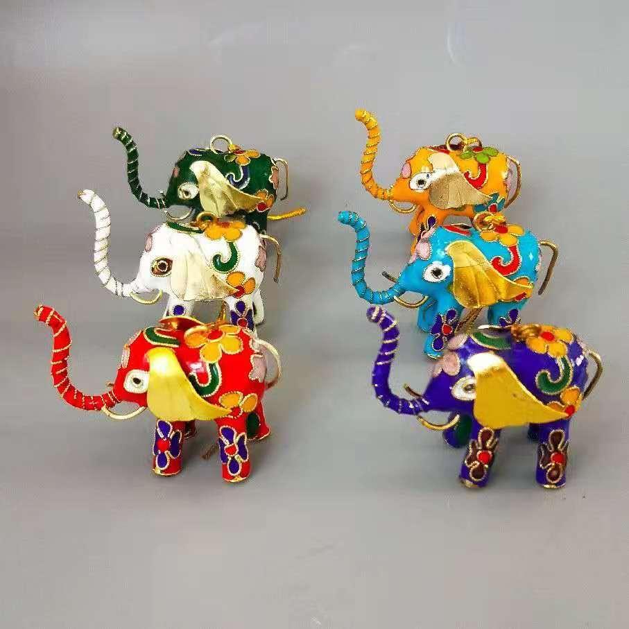 수제 다채로운 칠리 에나멜 선조 코끼리 매달려 펜 던 트 장식 크리스마스 트리 액세서리 장식 키 체인 가방 상자 상자와 매력 선물