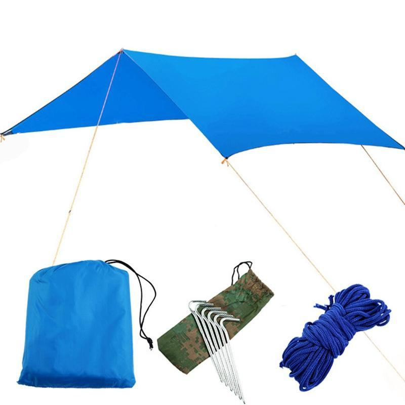 Tents And Shelters 1Sets Outdoor Waterproof Sun Protection Beach Awning Canopy Moisture-proof Mat Sunshade Cloth Tent Hiking Equipments