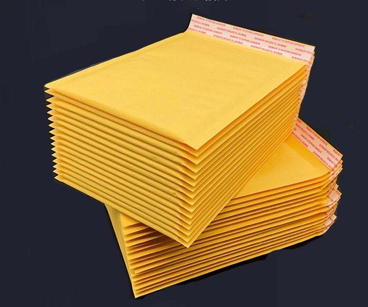 Embalaje Bolsas Amarillo Kraft Papel Bubble Sobres Gifts Paquete Mailers 180 PCS por juego 90x130mm