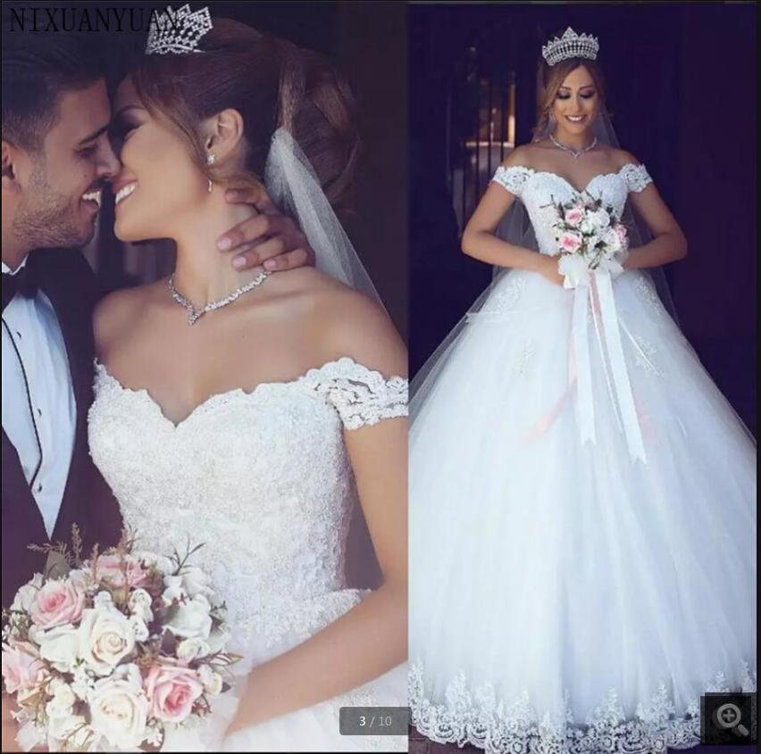 Vestidos De Novia 2021 beaded lace appliques wedding dress off the shoulder vintage princess puffy corset bride dresses floor length modest elegant bridal gowns