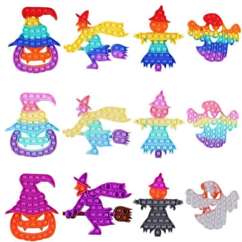 Halloween Fidget Giocattoli Posizionare la bolla Antistress Toy Speciale Pumpkin Strega Ghost Scarecrow Rainbow Adulto Stress Silver Dimensioni Big Size