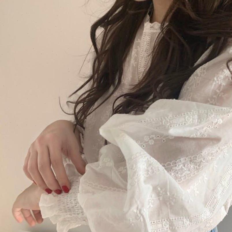 Bahar Sheer Through Sheer Kadın Gömlek Örgü Uzun Kollu Tops Tee Beyaz Bloust O Boyun