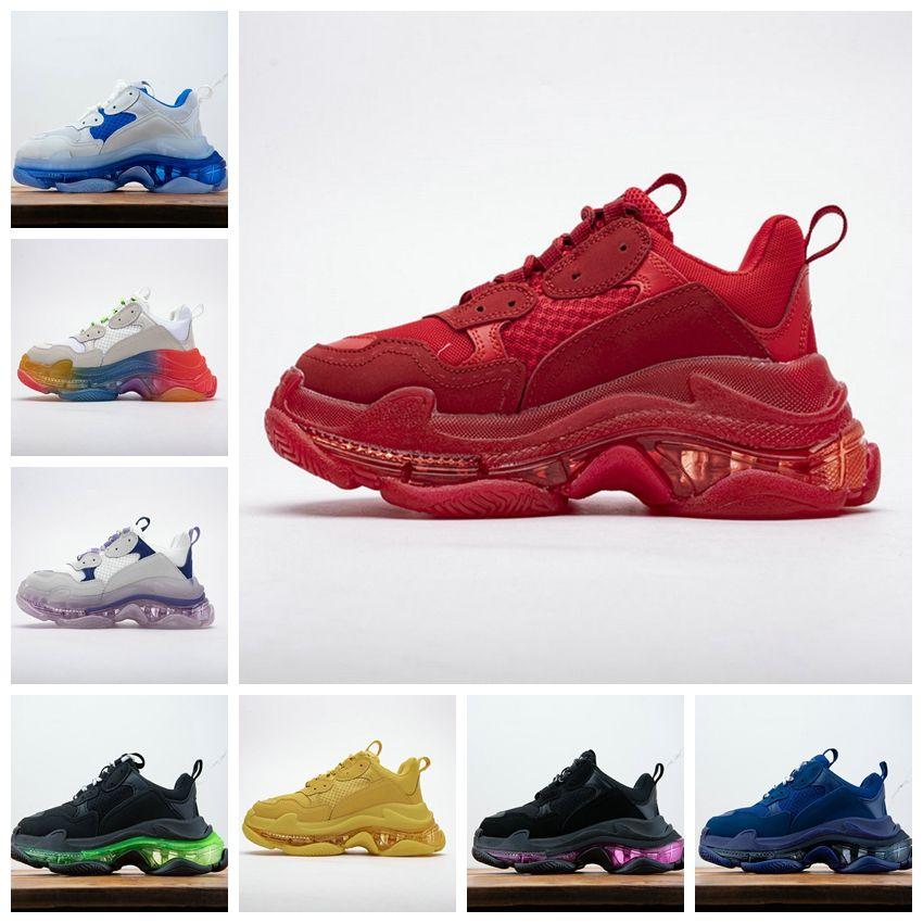 balenciaga shoes 19SS Üçlü S Temizle Sole Yeşil Sneakers Tripler Paris Erkek Tasarımcı Ayakkabı Erkekler Için Üçlü-S Baba Ayakkabı Bayan Lüks Spor Üçlü Boyutu 36-45