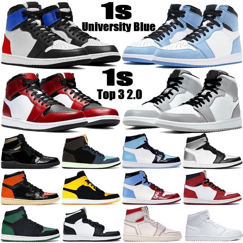 Üniversite Mavi 1 Basketbol Ayakkabı 1 S Yüksek Koyu Mocha Elektro Turuncu UNC Işık Duman Gri Hiper Chicago Patent Bred Kraliyet Toe Erkek Kadın Sneakers 36-46