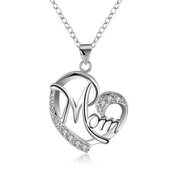 Nuevo collar de mujeres Mamá en forma de corazón Diamantes Feliz día de madre Negro rosa collar de plata Día de la madre Regalo GWA4600