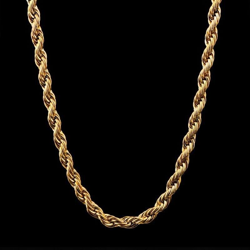 السائبة 18 كيلو الذهب مطلي سلاسل للنساء الرجال 3 ملليمتر الملتوية حبل المختنق القلائد مجوهرات الحجم 18 20 22 24 30 بوصة 289 G2