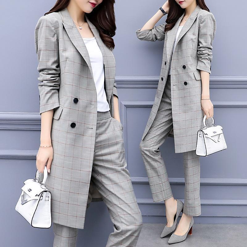Women's Suits & Blazers Spring Autumn Women Office Lady Pant OL Long Blazer Suit Jackets With Ankle Length Trouser Plaid Two Pieces Set