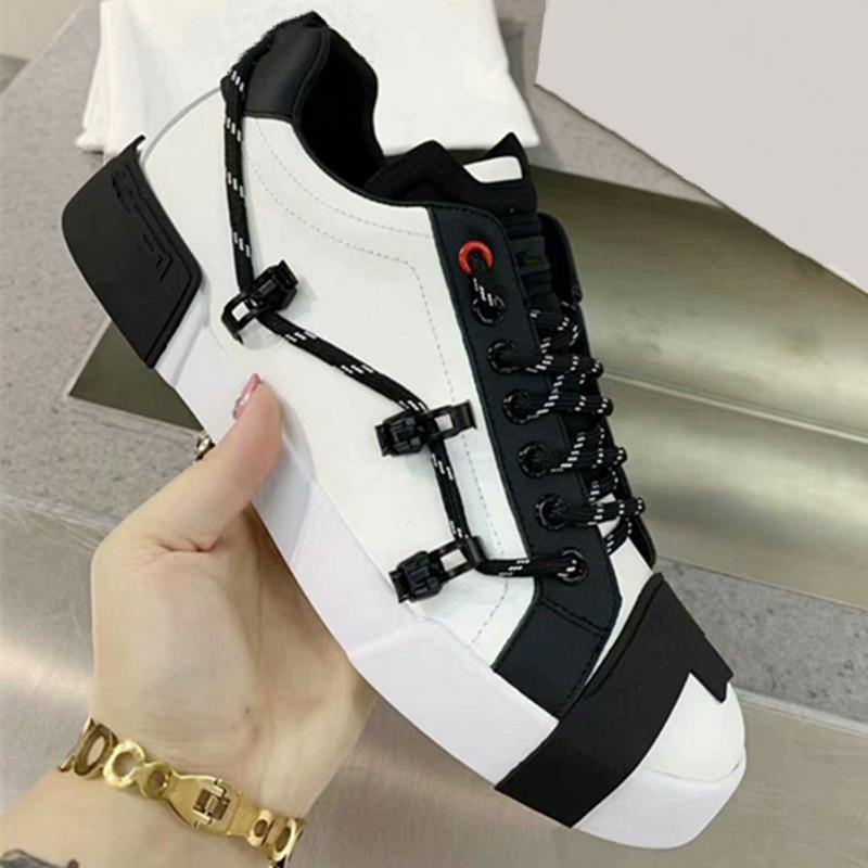 Luxo Cross lacing laço sapatos casuais de alta qualidade sapatilhas de couro redondo zapatos plataforma plana sneaker unisex branco sapatos pretos