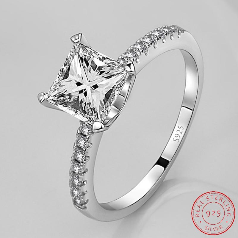 925 Sterling Silver Wedding Rings For Women Engagement Bridal Fashion Jewelry Finger Black Friday XR519