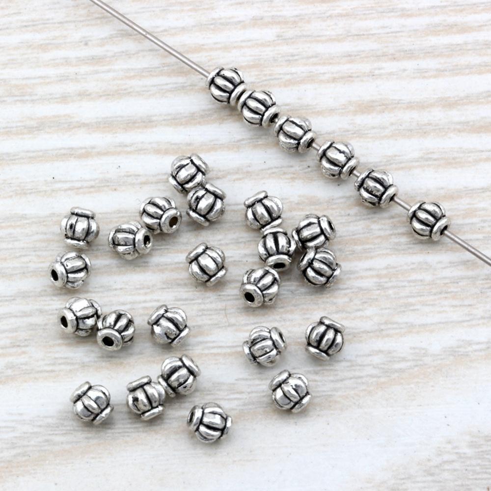 500Pcs /lots Antique silver zinc Alloy lantern Spacer Bead 4mm For Jewelry Making Bracelet Necklace DIY Accessories D2
