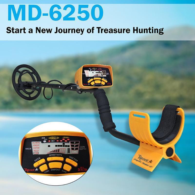 MD6250 LCD المحمولة للكشف عن المعادن سهلة التركيب عالية الحساسية الدقة الكشف عن أداة الكنز مكتشف الكاشفات
