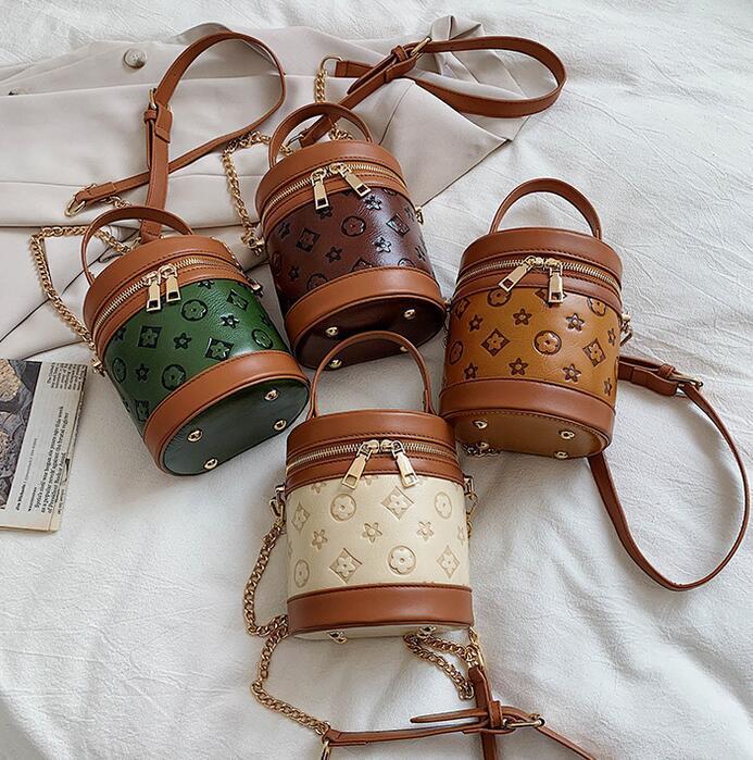 4 renkler deri desinger kidsflower baskı zincir çanta kabartma dairesel kova çanta pu messenger sikke çanta tek omuz çantası