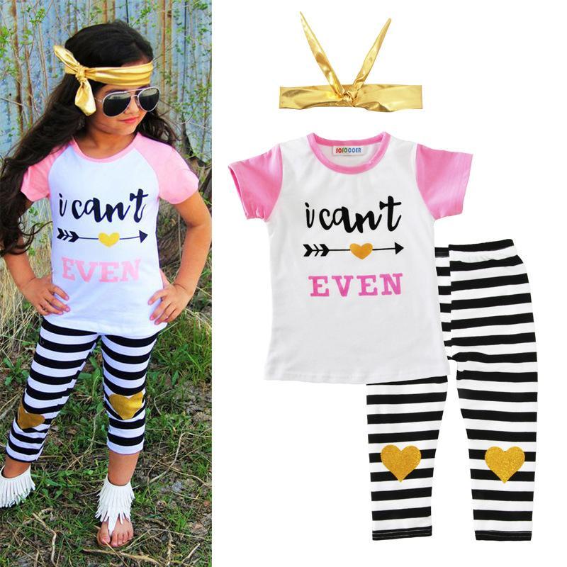 الفتيات أزياء مجموعات الملابس رسائل شخصية هندسية الطباعة عارضة الدعاوى الرضع ملابس الاطفال قمم السراويل هيرباند 1-5T LG2017
