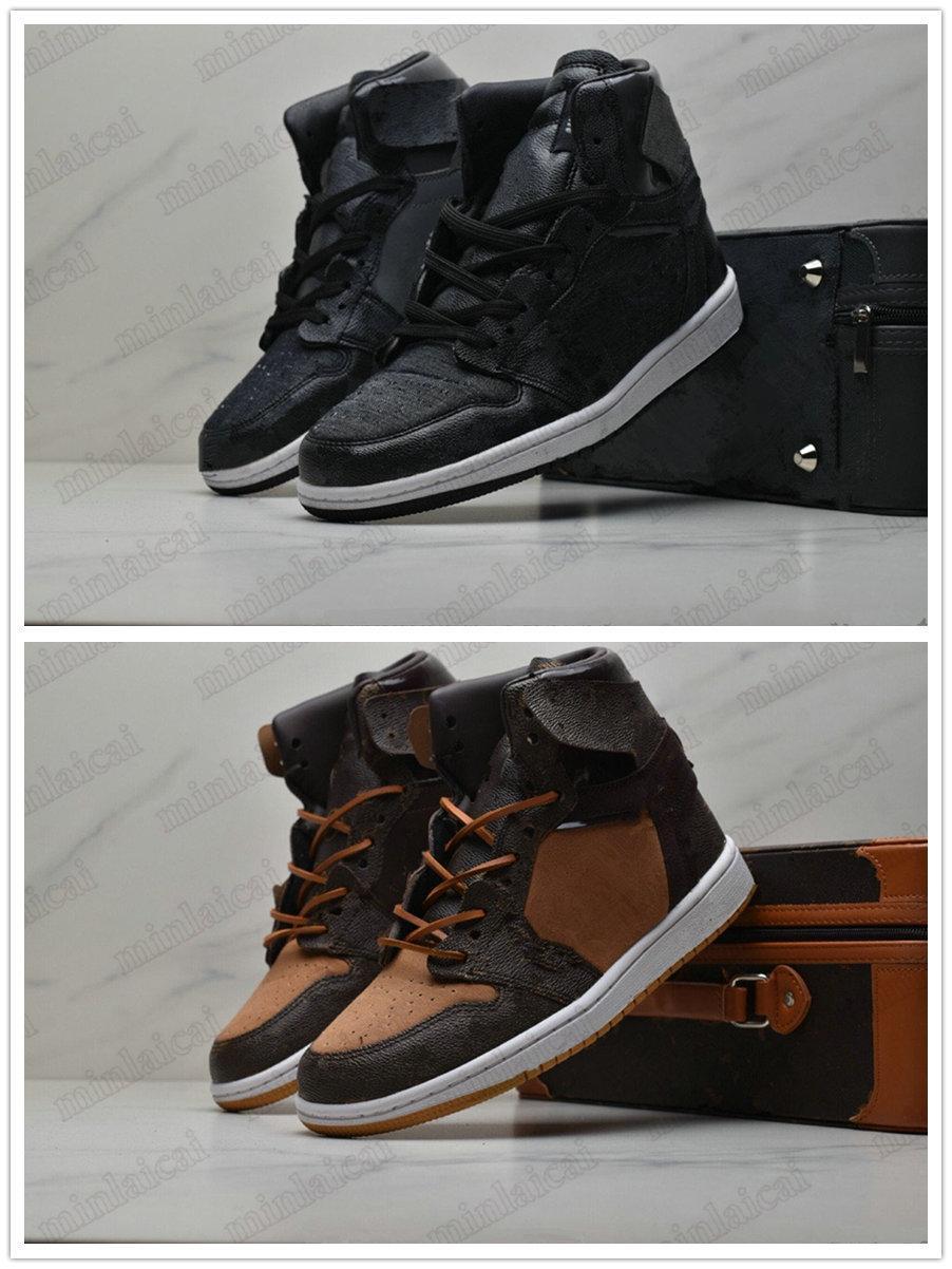 Sonderausgabe 1 Limited Schuhe 1s Basketball Schwarz Braun Monogramme Drucken Designer Sneakers Off Trainer Sportschuh Luxus mit Koffer