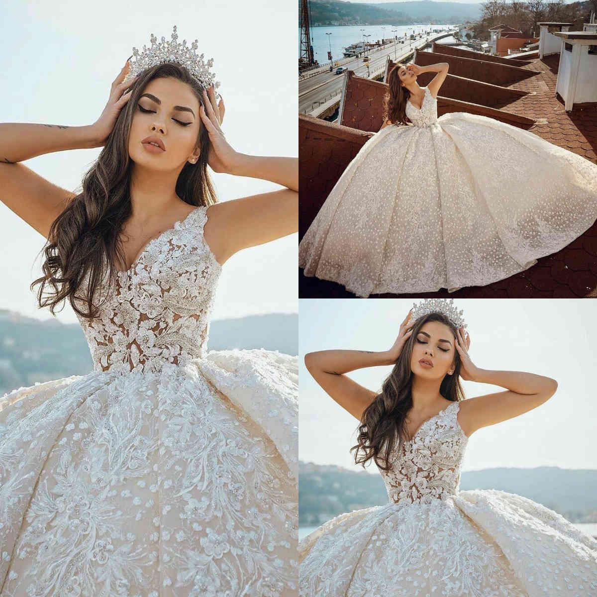 Robe d'arabe robe de luxe Robes de mariée de luxe 2021 Perles appliquées Perles Plus Taille Robes de mariée Vol V Le cou Personnaliser Vestido de Novia