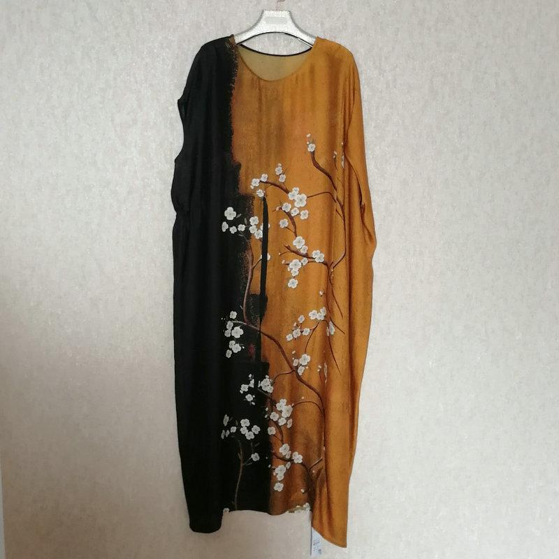 Estación Europea 2021 Primavera y verano temperamento Nueva seda retro impresión suelta moda vestido de encaje 10278