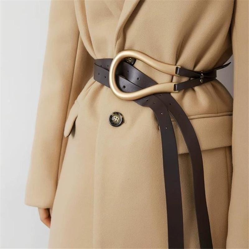 Cinture 136cm Elegante Donne Influencer Elegante All-Match Fashion PU in pelle femminile Black Quality Belt per Blazer