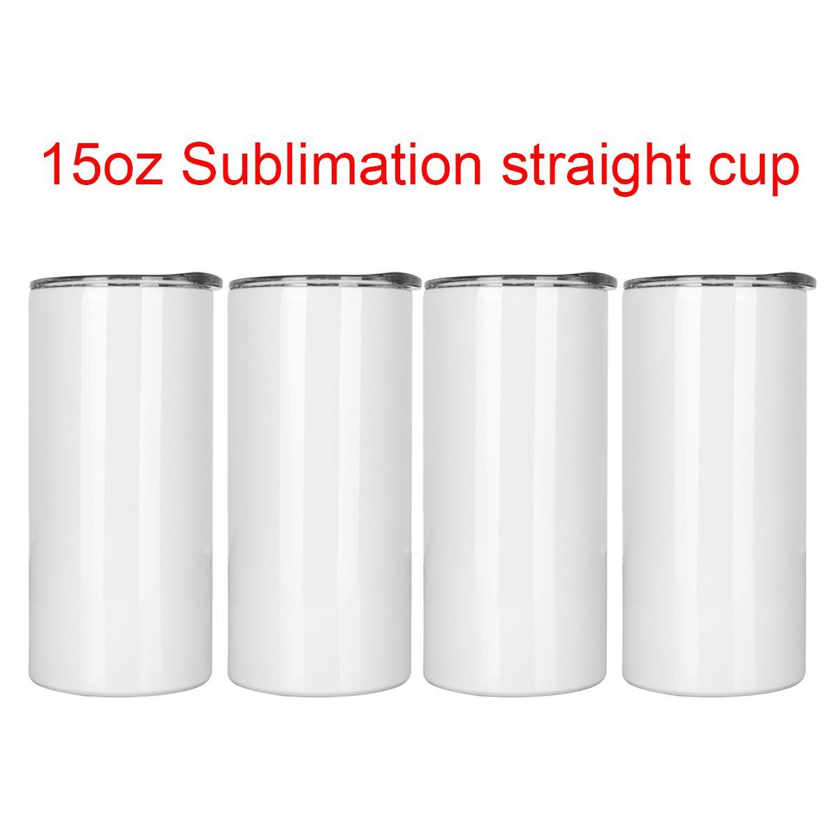 Wholesale 15oz Sublimation Straight Skinny Tumblers Stainless Steel Cup Thermos For Heat Transfer DIY Blank Water Bottle