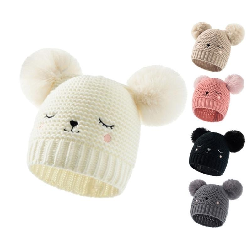 INS Winter Warm Newborn Baby Cute Knitted Hat Solid Color Double Ball Acrylic Embroidered Children's Crochet Hats Outdoor Kids Beanie Skull Cap G99JVW3