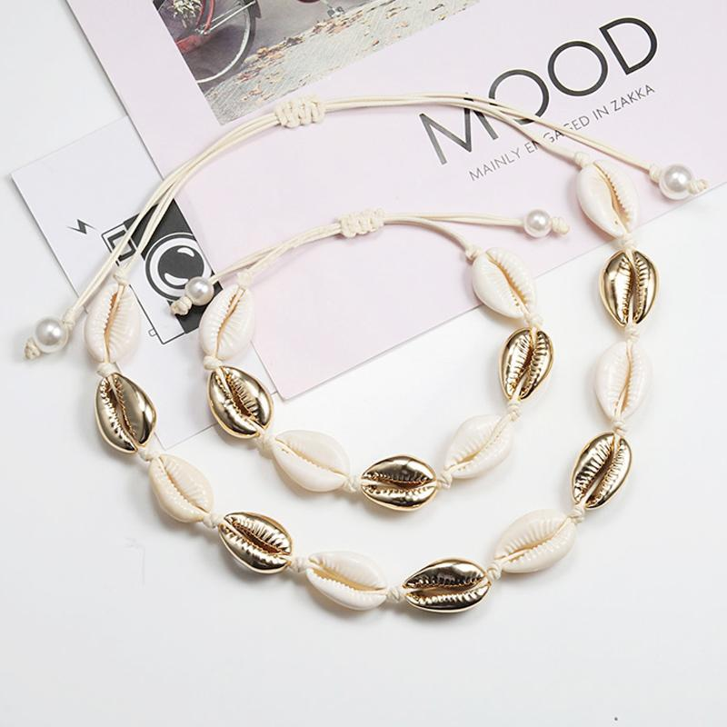 Shell Necklace&Bracelet Bohemia Nature Gold Seashell Cowrie Charm Necklaces For Women Choker Rope Chain Bracelets Summer Jewelry Pendant