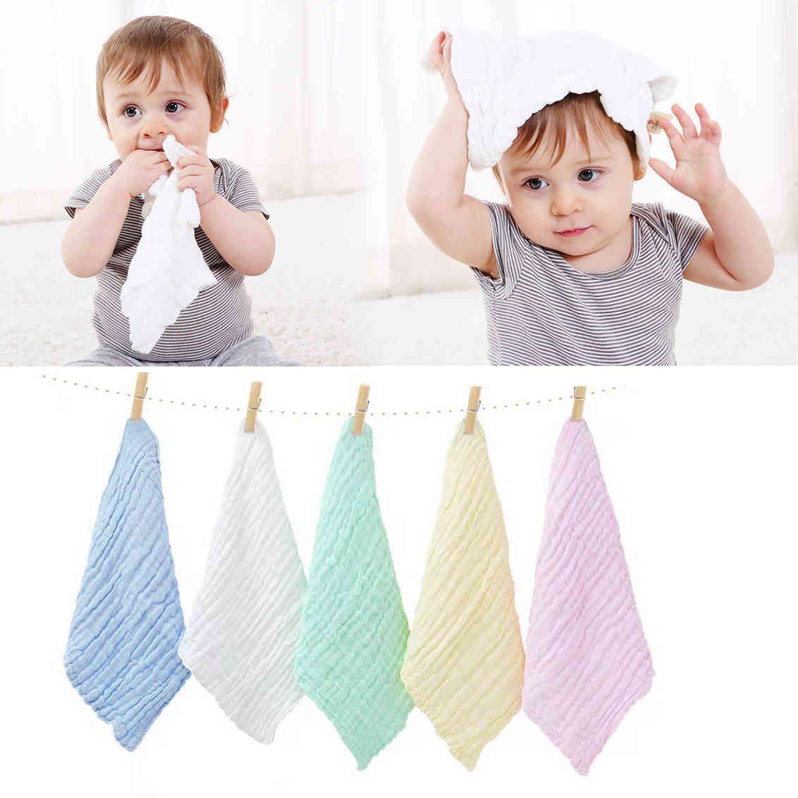 30*30cm 5pcs/set Baby towel 100% Cotton Square Muslin Baby Towels 6 Layers Water Washing Handkerchief born Baby Nursing Towel 210510