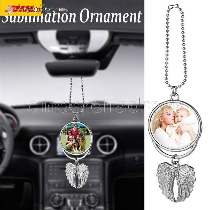 Latest Sublimation Big Wings Necklaces Pendants Sublimation Blanks Car Pendant Angel Wing Rearview Mirror Decoration Hanging Ornaments BA19