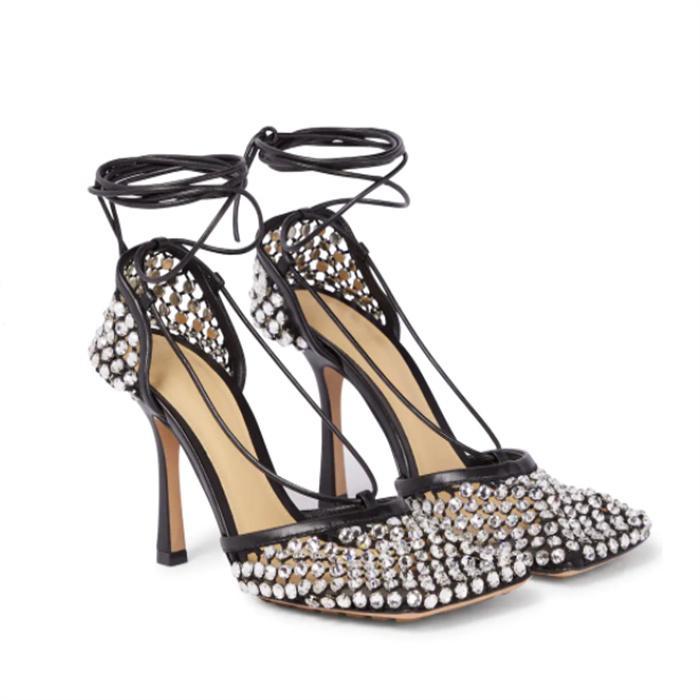 Autumn mesh diamond high heel sandals ladies open toe dress shoes