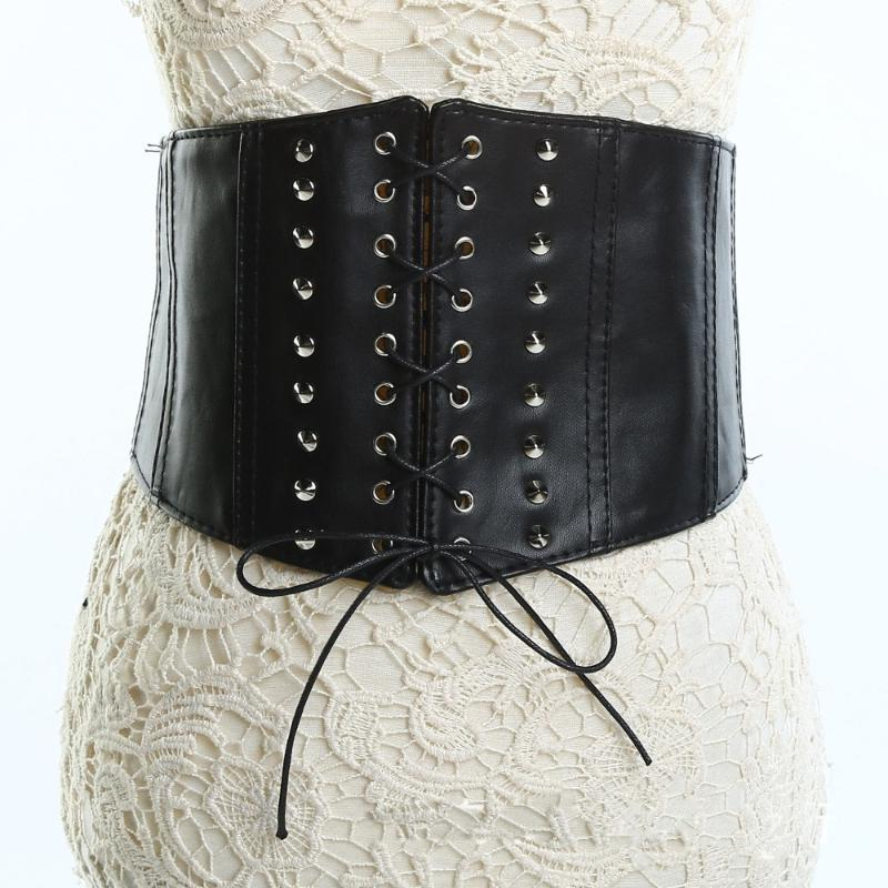 Cinture da donna Elastico Elastico Ultra larga cintura Faux Leather Corsetto Retro Design Design Legatura anteriore Tie Up Vita Ragazza Vestiti Decorazione
