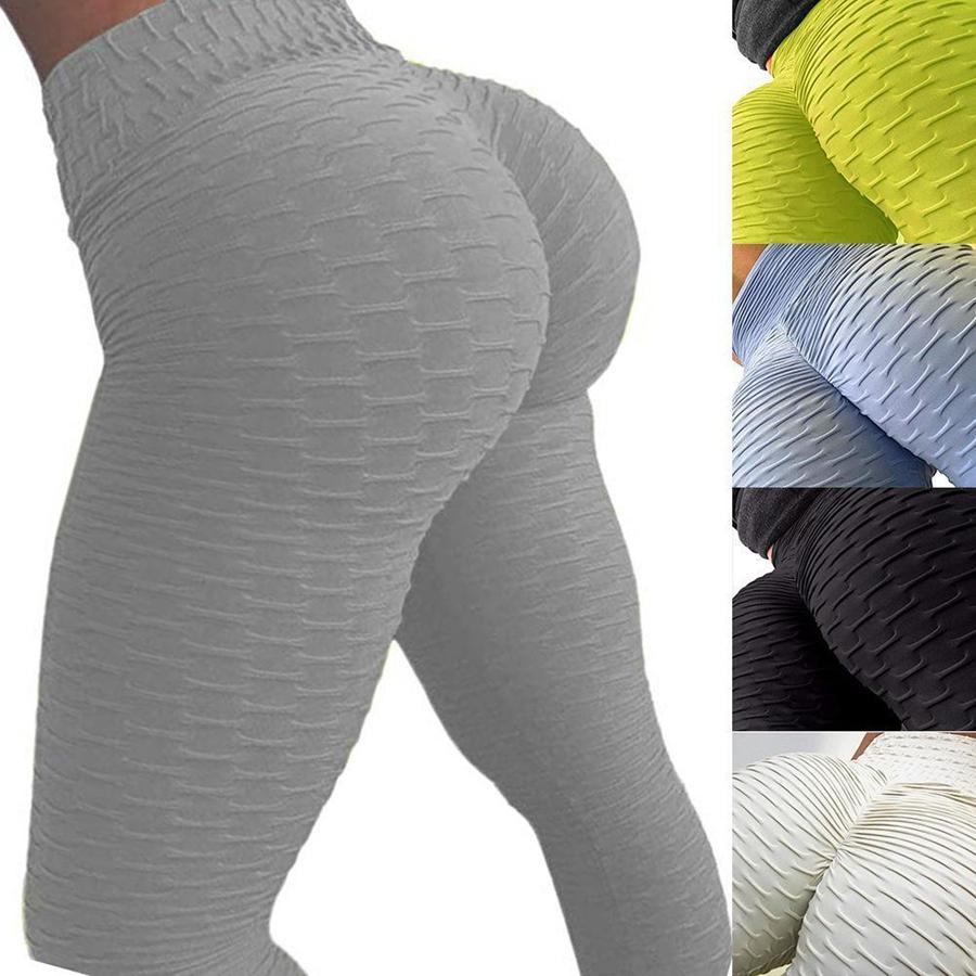 Women Yoga Pants Solid Honeycomb Sexy Fitness Leggings High Waist Elastic Running Tights Ladiies Push Up Gym Workout Pants Q77