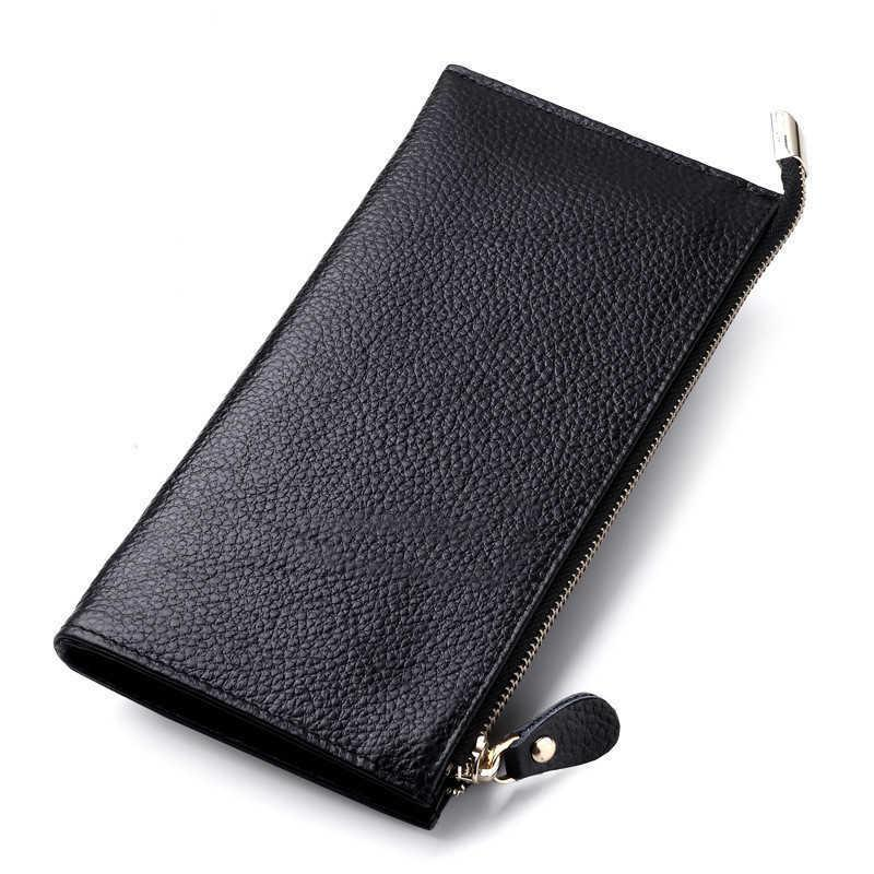 Women's Wallet Genuine Leather Female Purses Ladies Long Purse Handle Clutch Wallets For Phone Bags Money Bag Card Holder Clutch X0728