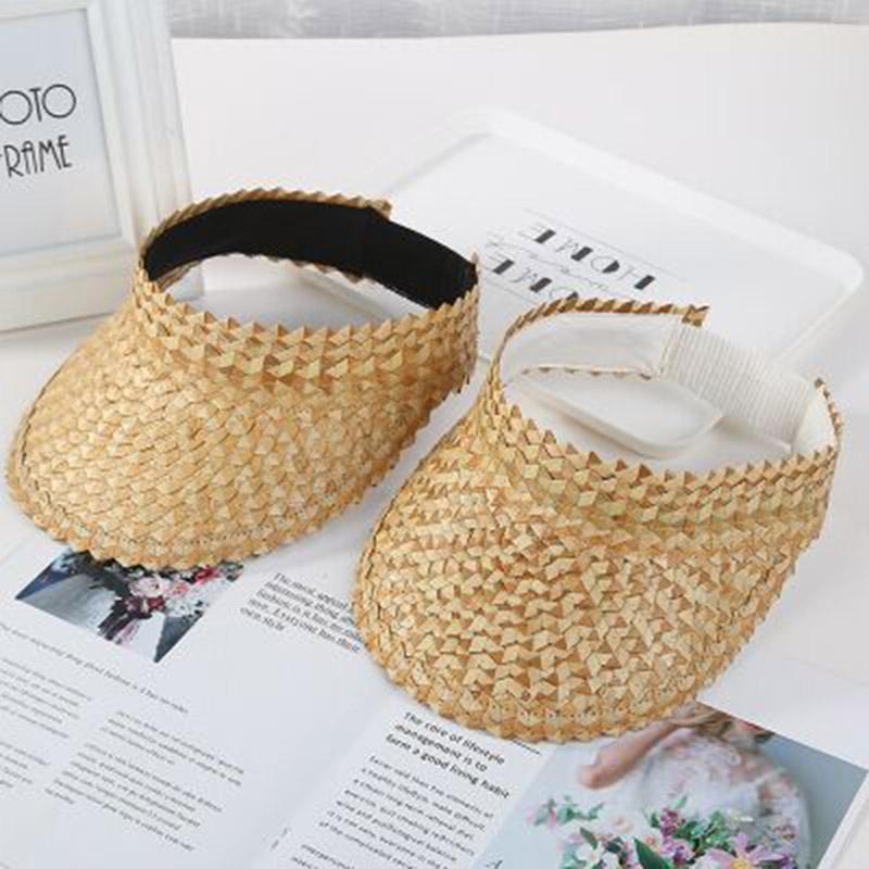 Mulheres verão artesanal tecido ráfia palha sol visor chapéu vazio top largamente borda uv proteção de praia