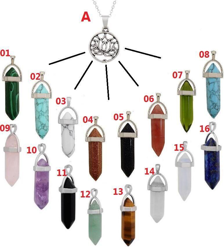 Collares de estilo de yoga Cuarzo Punto de roca Chakra 128 Cristal natural Hexagonal Hexagonal Star / Lotus Pendulum Long Gemstone Mujer Prism Neckl Hien