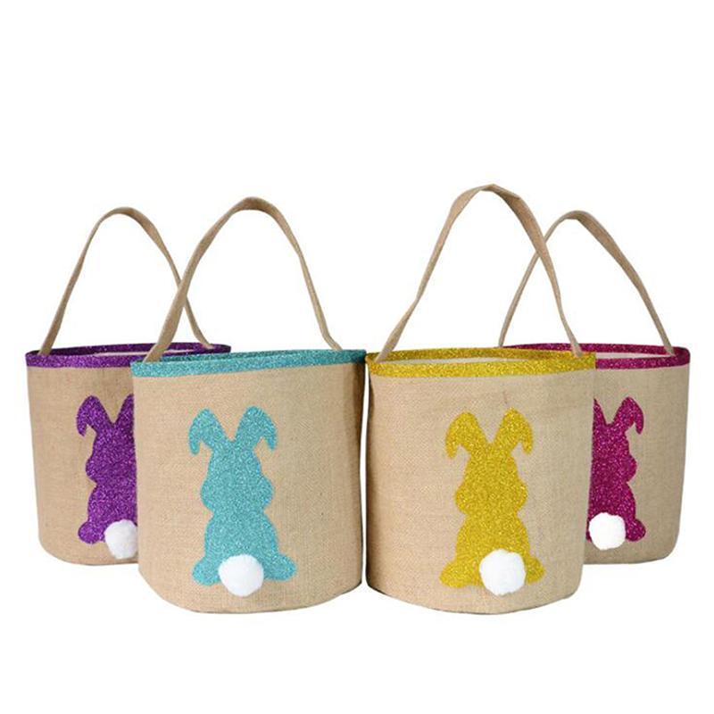 Saco de armazenamento de doces Tote da cesta de Páscoa para meninas meninos presente de Natal redondo parte inferior kawaii orelha sacos