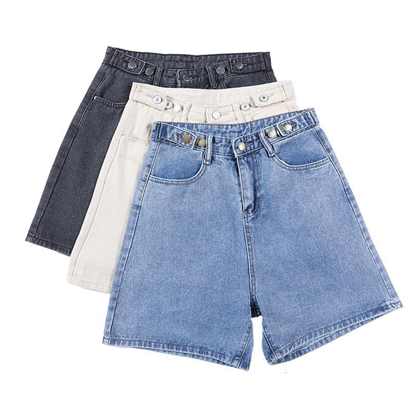 Denim shorts shorts mujeres jeans sueltos algodón rizado ancho pantalones de pierna 2021 coreano mujeres grandes ocasionales estudiantes