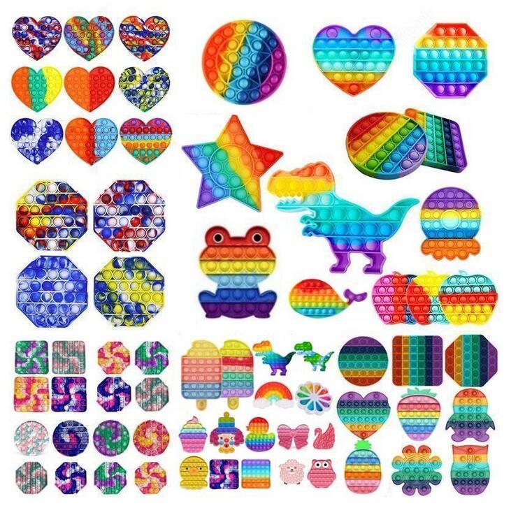 POST FIVET TOY TOY Красочные ABS сенсорные игрушки Rainbow Bubble Trange Fress General Pubs для детей Multicolor DHL быстро