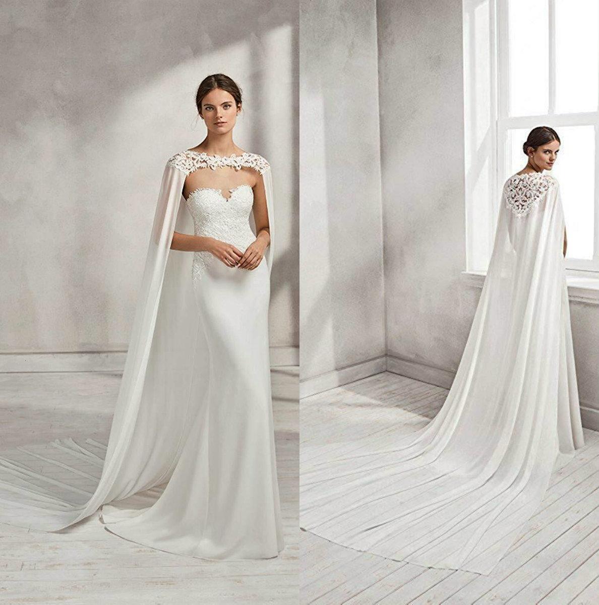 Chic Bridal Capes Custom Custom Dentelle Appliques Robe de mariage de mariage pour femmes balayer des vestes de train Bolero Mousseline de soie