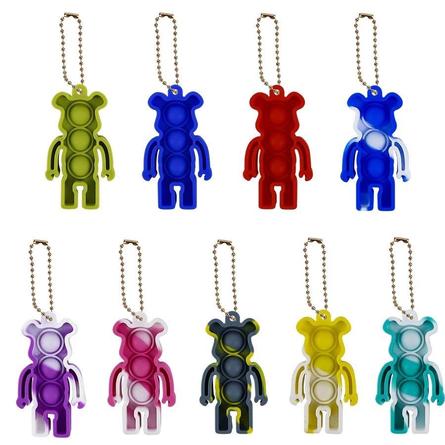 Mini Bear Push Pop Pop Fidget Toy 10style Portachiavi Anello Adulto Bambini Squishy Novità Stress Stress Autismo Spremere Giocattoli Kawaii Car Keyholder Gifting Bambini 100pcs / DHL / UPS