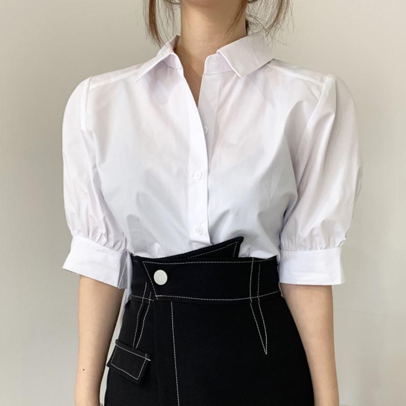 Yaz Kadın Kore Tarzı Ofis Bayan Yaka Nazik Tüm Maç Beyaz Geri Pileli Hem Gevşek Kısa Kollu Gömlek 16F1010 210510