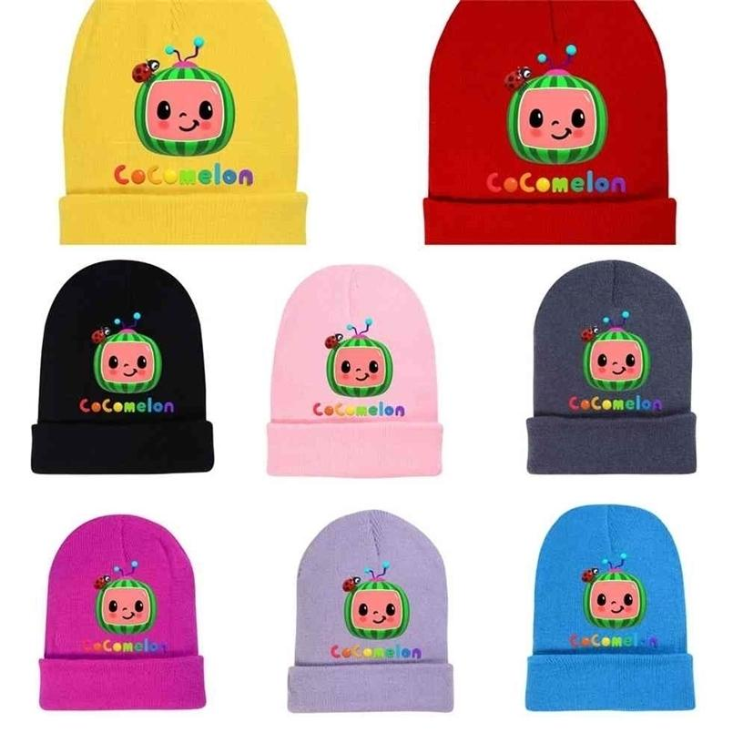Cocomelon Beanies Skull Caps Baby Boys Girls Autumn Winter Knitted Hat Toddler Kids Woolen Soft Cute Hat Candy Color Crochet Cap G498XRO