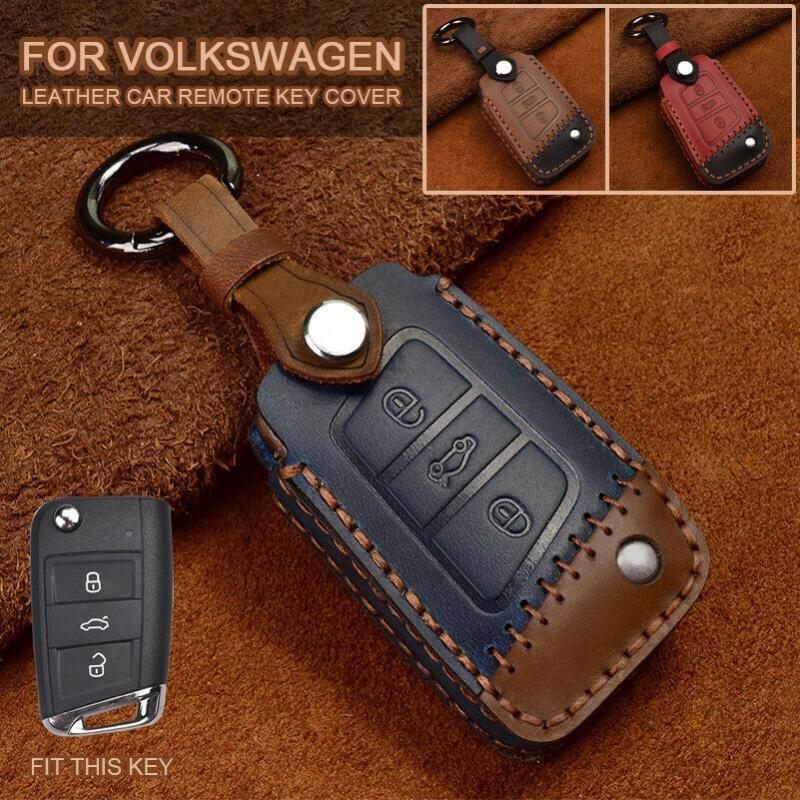 Keychains Handmade кожаный ключевой чехол для чехол с дистанционной оболочкой для VW Golf Tiguan SkodaoctaCia Kodiaq Karoq Seat Ateca Leon 2021